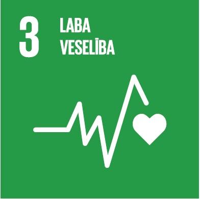 Attēlā atspoguļots ANO ilgtspējīgas attīstības mērķis nr.3 - laba veselība. Tā vizualizācijai izmantota cilvēka sirds kardiogrammas līkne.