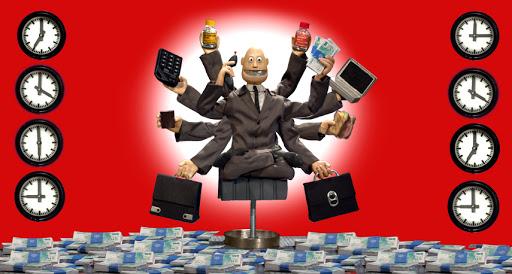 """Animācijas filmas """"Automatic Fitness"""" galvenais varonis sēž uz lotosa pozā uz krēsla, kas stāv uz grīdas, kas noklāta ar naudas banknošu iepakojumiem. Viņam ir desmit rokas, visas aizņemtas - vienā dators, otrā telefons, trešajā sviestmaize, ceturtajā portfelis u.tml. Gar attēla malām ir izvietoti pulksteņi - pa četri katrā pusē. Pirmie un trešie pulksteņi katrā pusē rāda dažādu laiku, otrie un ceturtie - vienādu."""