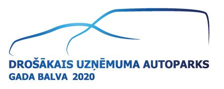 """Konkursa """"Drošākais uzņēmuma autopraks 2020"""" logotips."""